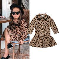 tutus do bebé do impressão do leopardo venda por atacado-2019 novo leopard dress criança crianças baby girl leopardo impressão roupas manga longa lace party tutu dress