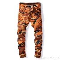 pantalones de camuflaje hombres delgados al por mayor-Los nuevos hombres de camuflaje de diseño Pantalones Denim Jeans Hombres Moto Camo Slim Fit Jeans motorista Tamaño 29-38