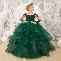 e53524bf8e1764a детские тёмно-зелёные праздничные платья оптовых-Темно-зеленое платье для  девочек с длинным