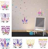 Wholesale wall stickers flowers pink for sale - Group buy Three DIY Unicorn Stickers Cartoon Star Wall Stickers star flower wall sticker Children s Bedroom Wall Sticker T6I6002