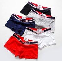 calça boxer branco venda por atacado-Nova Chegada Homens Sexy Underwear Algodão Itália Marca Masculina Cuecas Calças Curtas Moda Boxers M-XXL Preto Branco