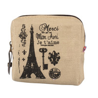 монеты эйфелевой башни оптовых-coin purse Women canvas Eiffel Tower printing vintage wallets Mini Retro Purse small Wallet Holders Clutch wallets purses*.65