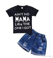 vaqueros de moda para bebés al por mayor-Moda 2 piezas niño niños bebé niño negro manga corta tops camiseta + pantalones cortos de mezclilla jeans ropa conjuntos