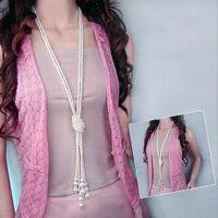 colar borla de imitação venda por atacado-Clássico duplo nó imitação de pérolas borla longo colar longo atado borla colar moda feminina camisola bijuterias