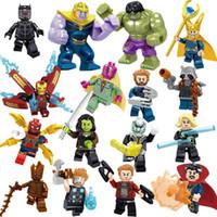 koruma blokları toptan satış-Marvel yapı blokları takımları 16pcs / lot Avengers Infinity Savaşı Minifig Superhero Thor Hulk Kaptan Amerika Yapı Taşları Oyuncak Şekil