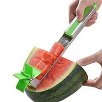cube en acier inoxydable achat en gros de-10pcs / lot Windmill Watermelon Slicer Cutter Pinces Corer Fruit Melon Outils En Acier Inoxydable Outils Pastèque Cut Rafraîchissant Pastèque Cubes Q 015