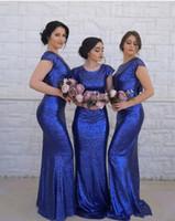 vaina azul real vestidos de dama de honor al por mayor-Vestidos de dama de honor de sirena con lentejuelas azul real Vestido de invitado de boda de vaina larga barata Más tamaño Vestido de fiesta por la noche Vestido de dama de honor Vestido de dama de honor