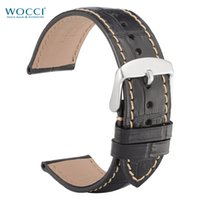 Wholesale 19mm watch buckle for sale - Group buy WOCCI Alligator Grain Cowhide Leather Black Watch Bands Stainless Steel Buckles Watch Straps Watchbands Width mm mm mm mm mm