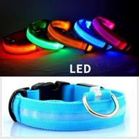 Wholesale led dog safety collar resale online - LED Dog Collar Night Safety Flashing Glow Pet Dog Cat Collar Glow In The Dark Dogs Accessory Supplies LJJA3298