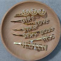 kelimeyi kırp toptan satış-Moda Kadınlar Rhinestone Kelimeler İnci Mektuplar Firkete Metal Saç Tokası Klipleri Hediye Bobby Saç Aksesuarları