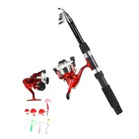 traje de cebo al por mayor-1.8m Fishing Rod Reel Combo Baits Lure Kit Red Suit Combination Tool