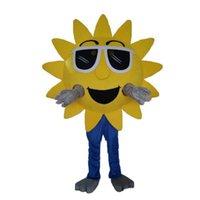 logo fantezi toptan satış-2019 Yüksek kalite sıcak Özelleştirilmiş Ayçiçeği Maskot Kostüm + LOGO Karikatür Karakter Fantezi Elbise Yetişkin Kıyafet
