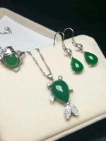 ingrosso set di gioielli di giada-Autentico naturale giada verde giamaica pesce set collana pendente orecchini un set di gioielli di giada con certificato