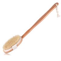 longo, segurado, madeira, banho, escova venda por atacado-100% Natural javali cerdas destacável Longo punho de madeira Dry Bath Corpo Escova das costas Esfoliante Bath escova ZZA1514-2