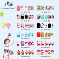 Wholesale false nails designed pink resale online - 24PCS Press on Children Candy False Nail Tips Cartoon Full Cover Kid Pink Fake Nail Art for Little Girls Design Manicure Tool