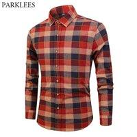 camisas de vestir homens algodão vermelho venda por atacado-Clássico da Escócia Estilo Xadrez Camisa Dos Homens de Moda Contraste Cor Dos Homens Camisas de Vestido Vermelho Casual Algodão de Manga Longa Camisas Hombre Top