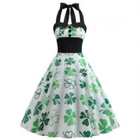 Wholesale st ball for sale - St Patrick s Day Dress Four leaf Clover Dress Halter Sleeveless Evening Party Swing Dresses Retro patchwork cloth styles GGA1583