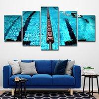 ingrosso arte blu paesaggio-(Solo su tela senza cornice) 5pcs blu piscina paesaggio pittura a olio poster wall art hd stampa su tela pittura moda appendere le immagini