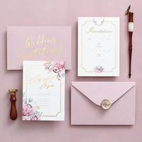 gelin davet kağıtları toptan satış-Düğün Gelin Duş Nişan Doğum Mezuniyet İçin Bej Kurdela ile 2019 Yeni Pembe Altın Glitter Lazer Kesim Davetiyeler Kartları