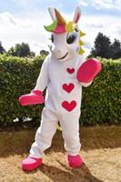 mascote bonito venda por atacado-Unicórnio traje Da Mascote Animal PONY traje da mascote bonito coração impresso Parade Palhaços Aniversários para Adultos trajes de festa de Halloween
