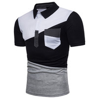 Wholesale white collar mens shirt for sale - Group buy Polo Homme Irregular Joint Color Matching Stand Collar Cotton Breathable Comfortable To Wear Short Sleeve Shirt Mens Polo