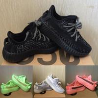 baby boy zapatillas blancas al por mayor-2020 nuevos zapatos para niños Kanye West V2 zapatos corrientes de la muchacha del muchacho reflexivo zapatillas de deporte de la arcilla del niño del instructor zapatilla de deporte Zebra Negro Gris Blanco