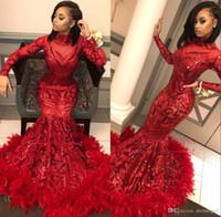 vestido de noche de plumas real al por mayor-2020 fantástico manga larga sirena vestidos de baile rojo de cuello alto con lentejuelas encaje apliques de plumas de fondo del partido de tarde del vestido BC1327