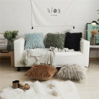 Wholesale princess style bedding resale online - Nordic Style Plush Pillowcase Fluffy Pillow Wool Cushions Ins Sofa Bed Fur Cushion Cover Pillows Princess Room Throw Pillow