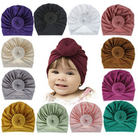Wholesale caps accessories resale online - 18 colors Children Accessories Newborn Toddler Kids Baby Boy Girl Turban Cotton Beanie Hat Winter Warm Soft Cap Solid Knot Soft Wrap
