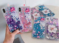 teléfonos con delfines al por mayor-Quicksand Liquid TPU Soft Case para IPhone XR XS Max X 8 7 6 6S Plus Flower Panda Unicorn Flamingo Dolphin Dynamic Phone Skin Cover 50 piezas
