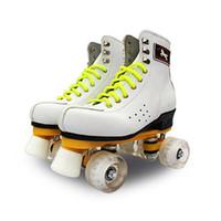 zwei räder skaten großhandel-Roller Skates Double Line Skates mit LED-Beleuchtung Räder Weiß Unsex Models Adult 4 Wheels Two line Roller Skating Schuhe