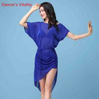 vestido de dança do ventre amarelo venda por atacado-Meninas roupas de dança do ventre Sexy vestido de mangas curtas, vestidos de moda prata Dancer's Skirt M, L, azul amarelo e vermelho