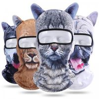 Wholesale dog bicycle for sale - Group buy Winter Outdoor Animal Ears Balaclava D Print Cat Dog Bicycle Cycling Ski full Face Mask Neck Cover cap headgear AAA1747