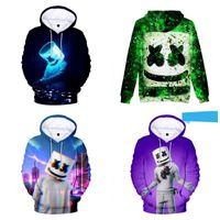 yaka sweatshirt sporlar toptan satış-Kapüşonlu Sweatshirt Erkekler Ve Kadınlar Hoodie DJ Marshmello Spor Gömlek Yuvarlak Yaka 3D Dijital Baskı Daha Renk 34hj C1