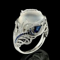 Wholesale ring feathers for sale - Group buy Luxury Ring Silver Color Feather Big Stone Rings for Women Fashion Jewelry Vintage Silver Hollow Natural Opal Cat Eye Rings