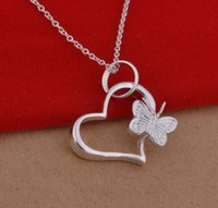 colar coreano da borboleta venda por atacado-925 colar de prata banhado a versão coreana popular Borboleta Amor Colar comércio exterior jóias WL371