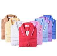 handtuch nachthemd großhandel-Brand Bademantel - 100% Baumwolle Bademantel unisex solide Morgenmantel Spa Bademantel Pyjamas dicke lange Nachthemd Nachtwäsche Handtuch
