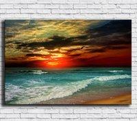 playa pintura al óleo enmarcada al por mayor-Amanecer, Playa, 1 Piezas Impresos en Lienzo Arte de la Pared Pintura Al Óleo Decoración para el Hogar (Sin Marco / Enmarcado)