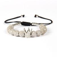 diseños de pulsera de macramé al por mayor-Envío de la gota 20 diseño nuevo lujo corona hombres y mujeres Macrame acero inoxidable pulseras brazaletes ajustable oro accesorios regalo
