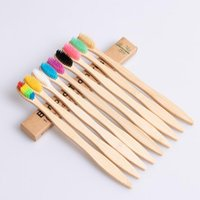 Natural Bamboo Handle Toothbrush Rainbow Colorful Soft Bristles Bamboo Toothbrush 10 colors with Box Package top quality LX1991