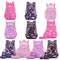 çanta kedi baskısı toptan satış-On Renk Okul Çantası Suit Geri Okulu Kız Bow Kedi Baskılı Fermuar Omuz Çantası Çanta Kalem Çantası Üç Piece Set To