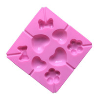 lolipop kalıpları toptan satış-Food Grade Silikon Çikolata Kalıpları 14.8 * 14.8 CM Pembe Aşk Çiçek Yay Lolipop Kalıpları Mutfak Bakeware 20 Parça DHL