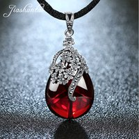 Wholesale red garnet gemstone for sale - Group buy JIASHUNTAI Retro Silver Sterling Royal Natural Red Garnet Gemstone Chalcedony Pendant Necklace Jewelry For Women Vintage