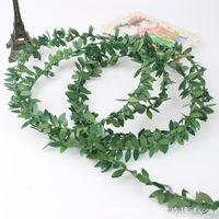 artesanato folha verde venda por atacado-7.5 M Com Fio Folhas Verdes Garland Seda Videira Artificial Videira Folhagem Guirlanda De Flores Para Casa Jardim Decorações De Casamento Decoração Da Parede DIY Artesanato