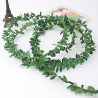 künstliches seidenlaub großhandel-7,5 Mt Verdrahtete Grüne Blätter Girlande Seide Künstliche Reben Grün Laub Blumengirlande Hausgarten Hochzeit Dekorationen Wand-dekor DIY Handwerk