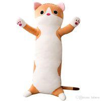 Wholesale anime cat pillows resale online - 65cm long Cat Pillow Plush toy soft cushion stuffed animal doll sleep Sofa Bedroom Decor Kawaii Lovely gifts for kids