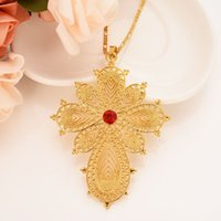 Wholesale ruby gemstone pendants resale online - 24 K Fine Solid Gold GF Exquisite Italian Figaro Necklace Chain Solitaire Flower Ruby Gemstone Fully CZ ct Pendant India