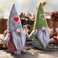 Wholesale red heart doll resale online - Christmas Gnome Santa Doll for Home Shop Desktop Decoration Xmas Heart Cap Santa Claus Figurines Ornament Kids Christmas Gift