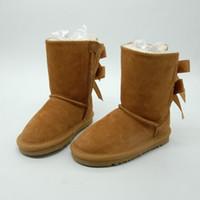 ingrosso calzature per ragazze per bambini-Scarpe da bambino Stivali da neve in vera pelle per i più piccoli Stivali con fiocchi Calzature per bambini Scarponi da neve per bambina