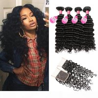 Wholesale buying indian human hair for sale - Group buy Mink Hair A Peruvian Deep Wave Bundles With Closure Buy Cheap Brazilian Malaysian Indian Human Hair Weave Bundles With Closure